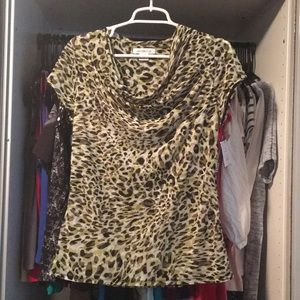 NEW tiger print scoop neck business casual top Med
